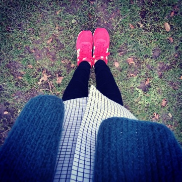 Red sneakers for a walk in the park